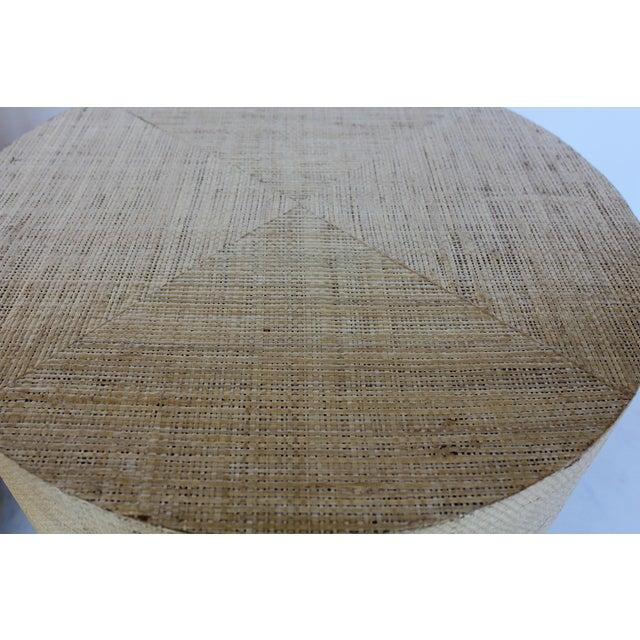 Karl Springer Karl Springer Style Modern Grasscloth and Brass Side Tables For Sale - Image 4 of 6