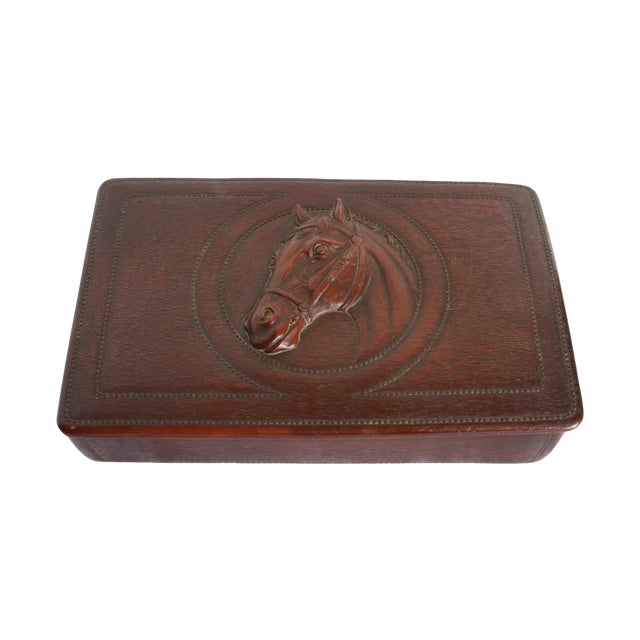 Syroco Midcentury Wood Box with Horse Head Detail - Image 1 of 7