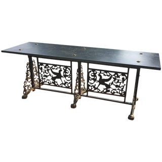 Oscar Bach Style Slate Top Wrought Iron and Bronze Bench For Sale