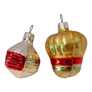 Fancy Hand-Painted Ornaments, S/2 For Sale