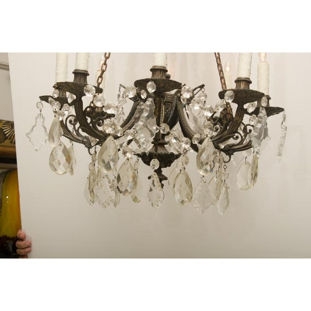 Americana Iron and Crystal Converted Gas Light Chandelier For Sale - Image 3 of 7