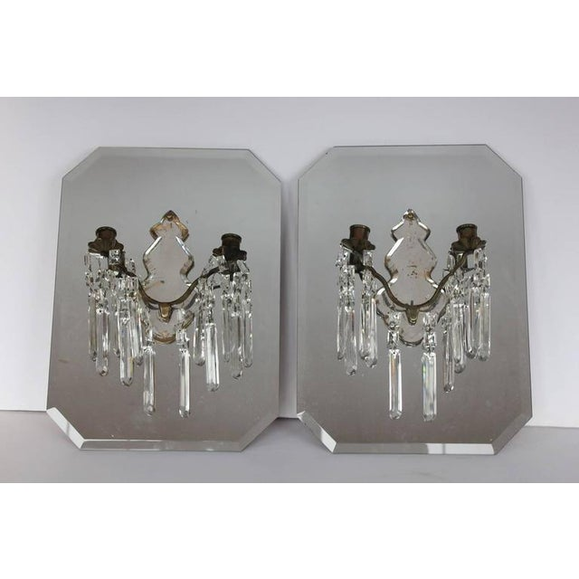 Antique French Mirrored Wall Sconces. They have hanger on the back.