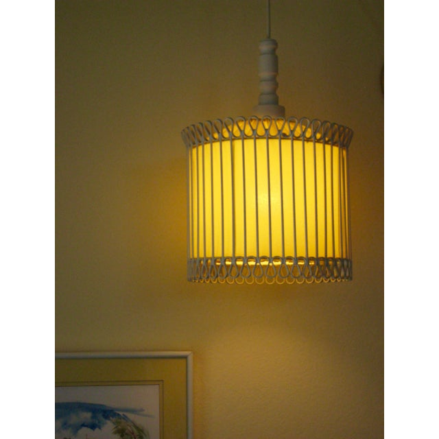 Mid-Century Modern White and Yellow Iron Chandelier For Sale - Image 9 of 11