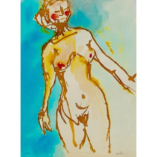 Happy Woman Watercolor Painting For Sale