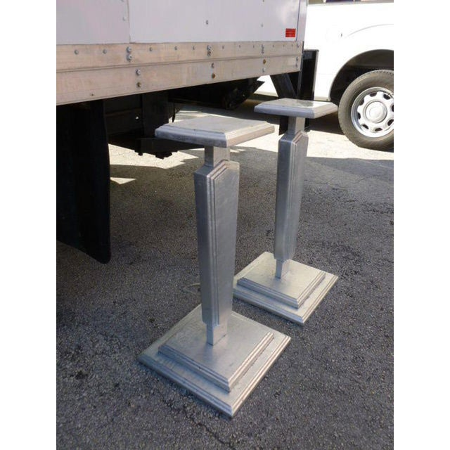 Ornamental & Decorative Materials 1930s Vintage Silver Leafed Art Deco Wood Pedestals - A Pair For Sale - Image 7 of 12