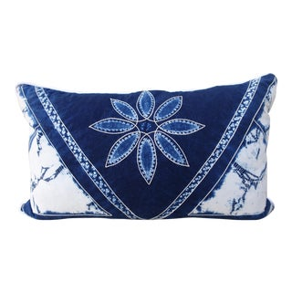 Rectangular Blue & White Batik Floral Pillow For Sale