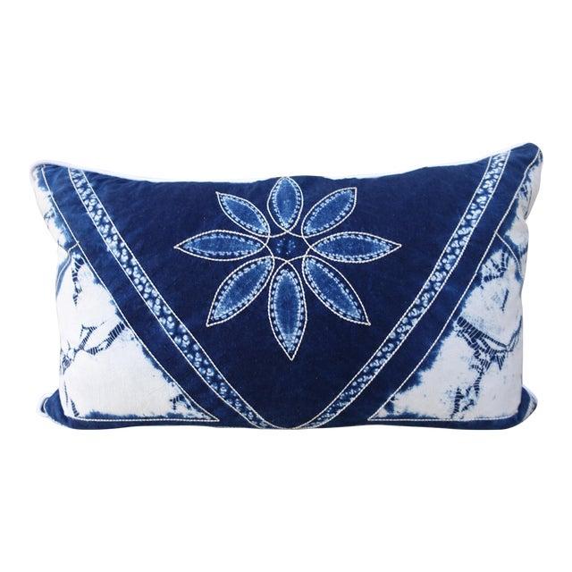 Rectangular Blue & White Batik Floral Pillow For Sale
