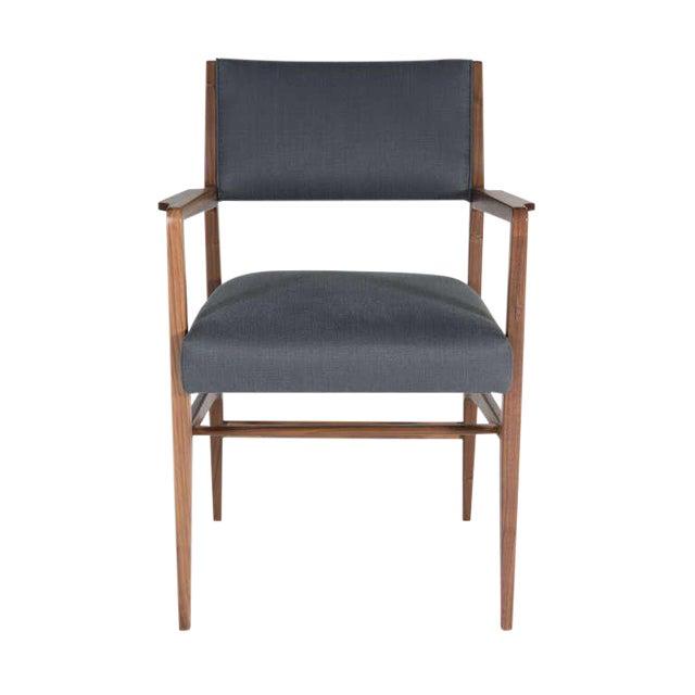 Customizable Maze Walnut Arm Dining Chair For Sale