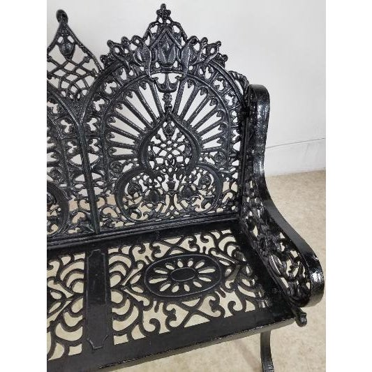 1950s Antique American Cast Iron Park Bench For Sale - Image 5 of 13