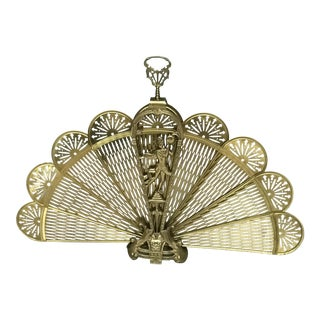 Vintage French Brass Old Peacock Style Fan Fireplace Screen For Sale