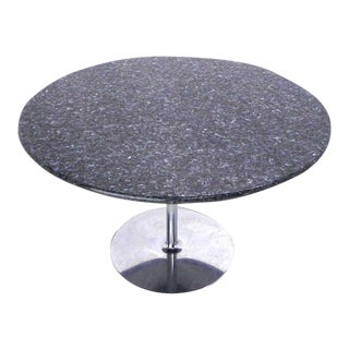 Mid Century Modern Round Iridescent Granite Tulip Base Dining Center Table For Sale