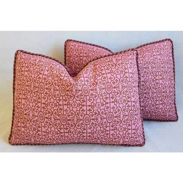 """Designer Raoul Hand-Printed Linen & Velvet Feather/Down Pillows 23"""" X 17"""" - Pair For Sale - Image 12 of 13"""