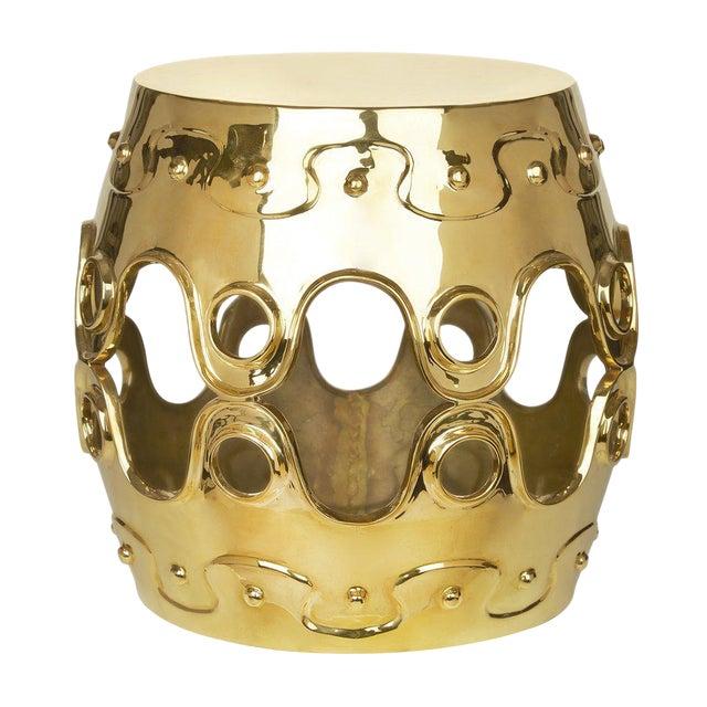 Jonathan Adler Ulu Brass Convex Side Table For Sale