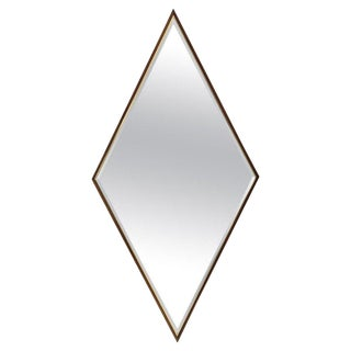 Walnut and Brass Diamond Mirror For Sale