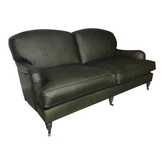 Traditional Green Leather Sofa For Sale