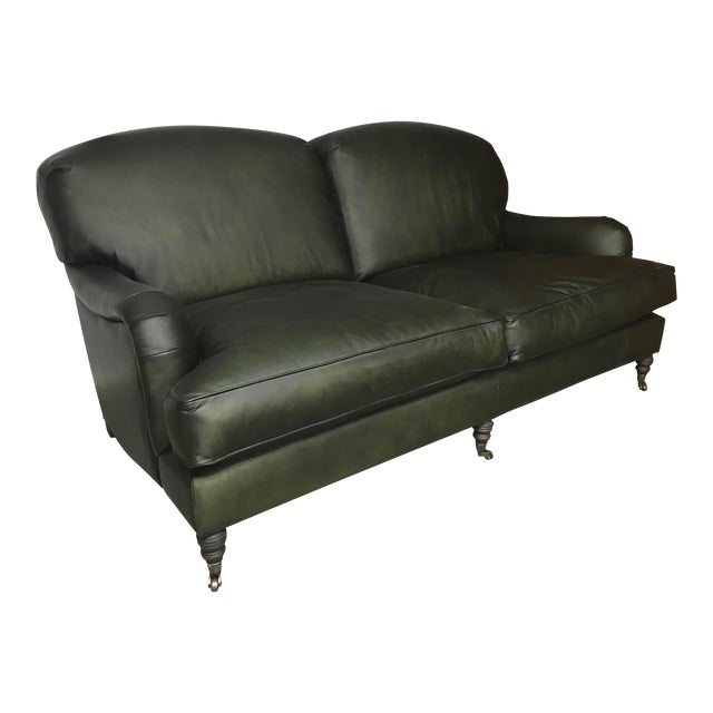 Traditional Green Leather Sofa