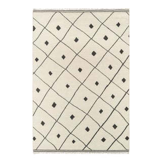 "Erin Gates by Momeni Thompson Appleton Ivory 5' X 7'6"" Hand Woven Wool Area Rug - 5′ × 7′6″ For Sale"