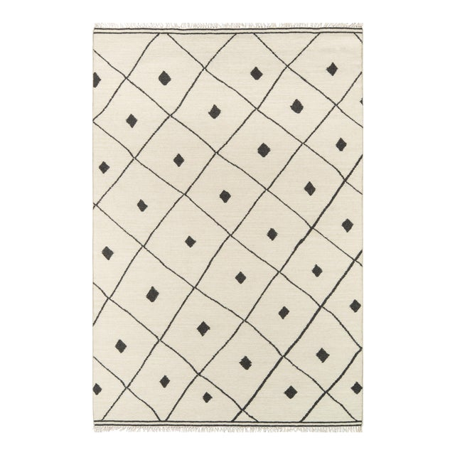 """Erin Gates by Momeni Thompson Appleton Ivory 5' X 7'6"""" Hand Woven Wool Area Rug - 5′ × 7′6″ For Sale"""