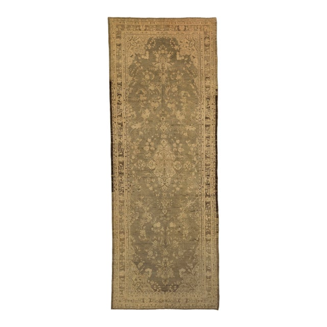 Antique Persian Malayer Rug With Ivory & Brown Floral Details on Beige Field- 5′4″ × 14′4″ For Sale