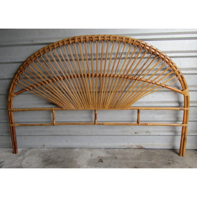 Asian Mid-Century Modern Fan Bamboo and Bentwood Headboard For Sale - Image 3 of 8
