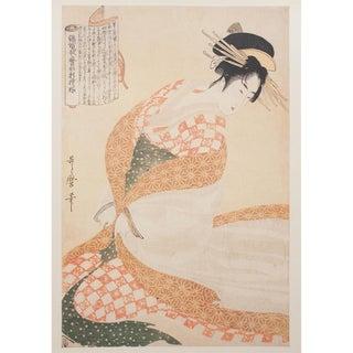 """1980s Kitagawa Utamaro """"Courtesan in White Dress"""" Vintage Print From Japan For Sale"""