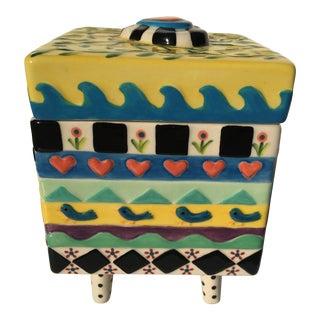 Memphis Inspired Ceramic Box For Sale