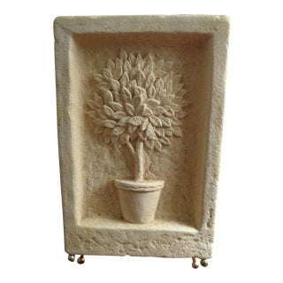 Greek Greenhouse Topiary Urn Planter Wall Sculpture on Frame