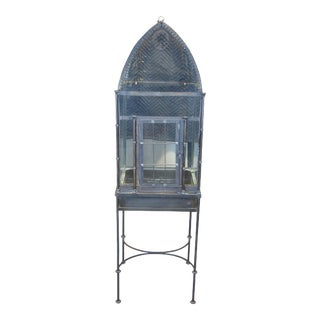 Vintage Victorian Gothic Inspired Iron Glass Dome Top Terrarium For Sale