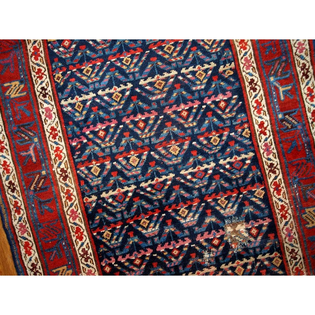 Country Hand Made Antique Persian Kurdish Runner - 3.4' X 12.3' For Sale - Image 3 of 6