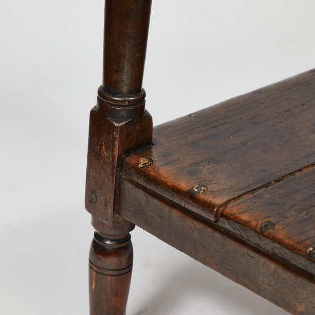 Late 19th Century English Tall Upholstered Stool With Bottom Shelf For Sale - Image 10 of 10