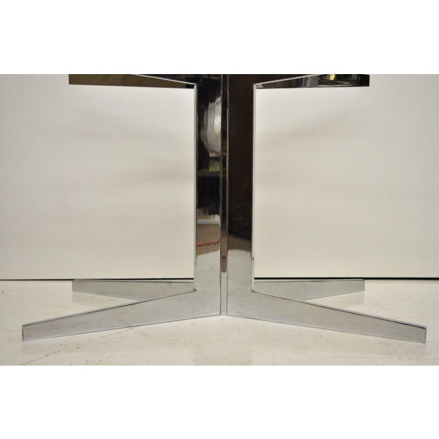 Metal Mid-Century Modern Chrome Steel Double Star Pedestal Dining Table Bases - a Pair For Sale - Image 7 of 13