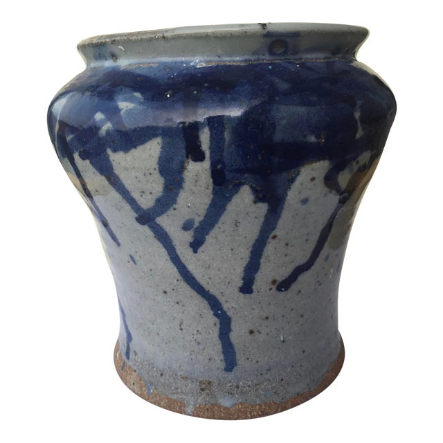 Antique Chinese Pottery Blue Splatter Pattern Glaze Brush Jar For Sale
