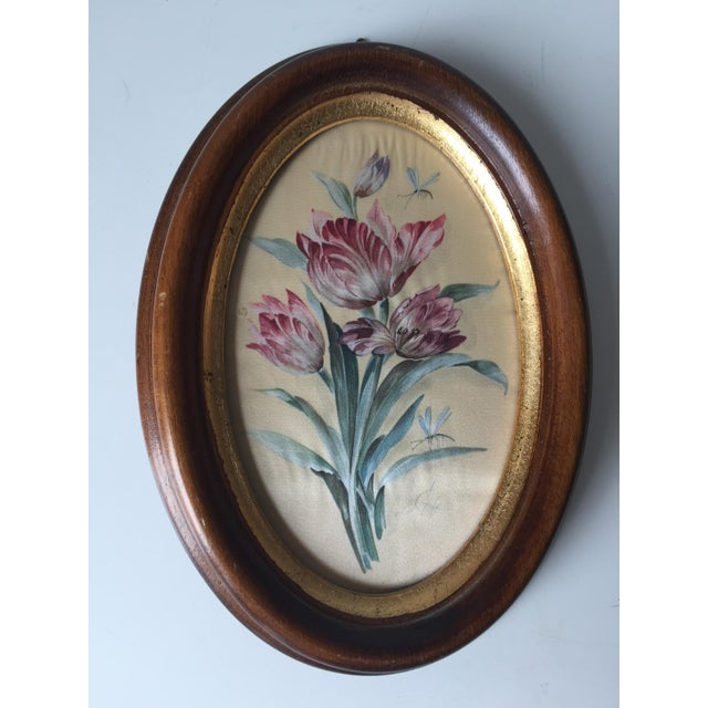 Vintage Florentine Framed Silk Botanicals - A Pair - Image 3 of 7