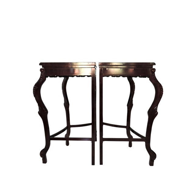 Pair of Italian Style Marble Top Corner Hallway Tables, Pedestals or Demi-Lune For Sale - Image 4 of 7