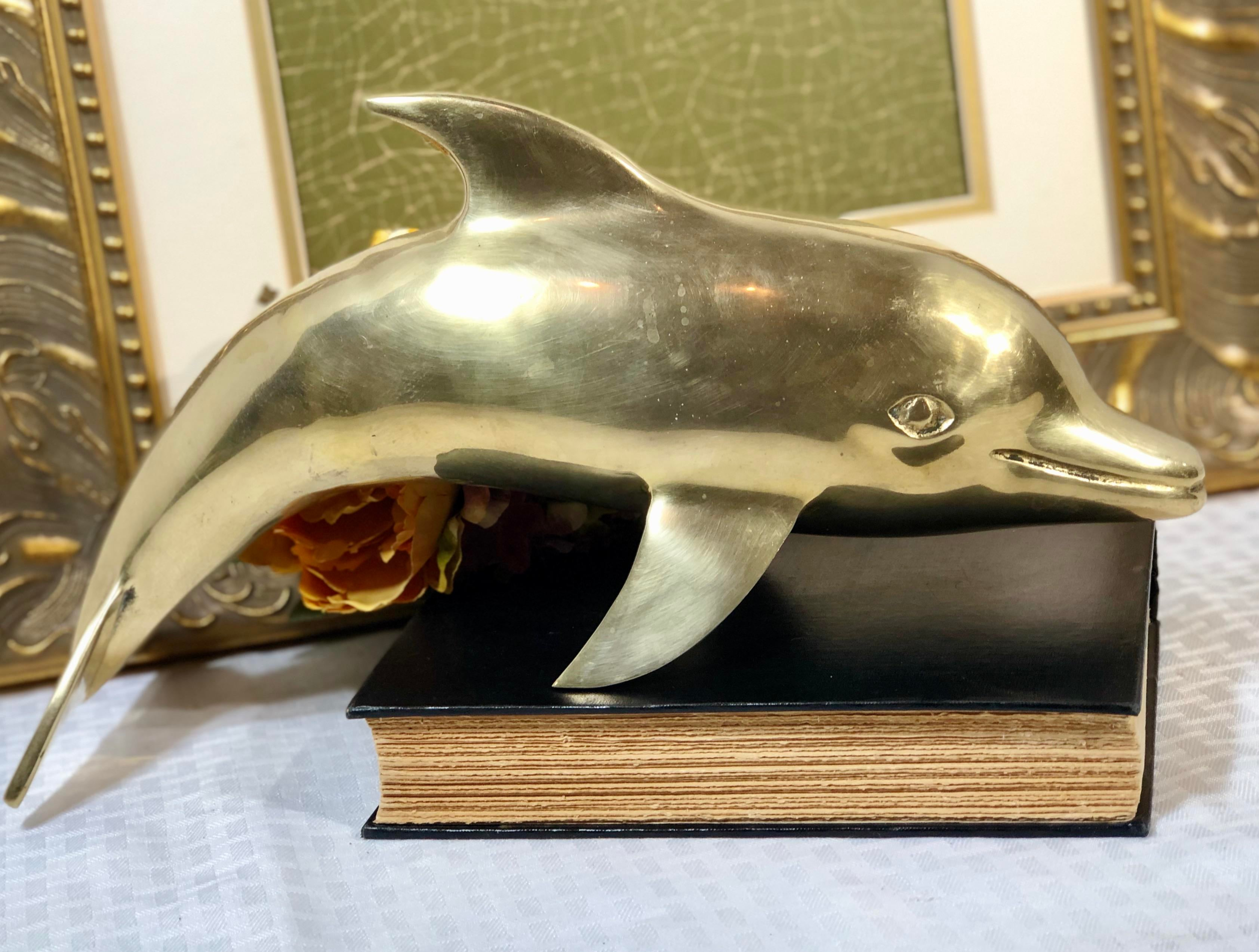 Desk Display Mid Century Modern Vintage Solid Brass Dolphin Large