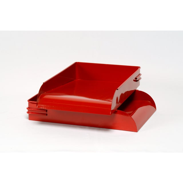 1930s 1930s Steel Letter Tray Refinished in Gloss Red, 2 Available For Sale - Image 5 of 7