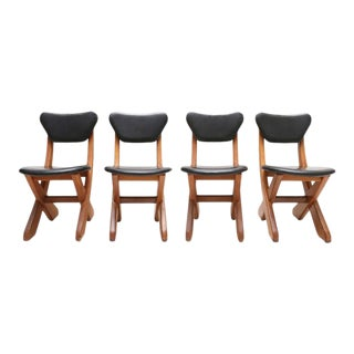 Scandinavian Set of Pine and Leather Chairs For Sale