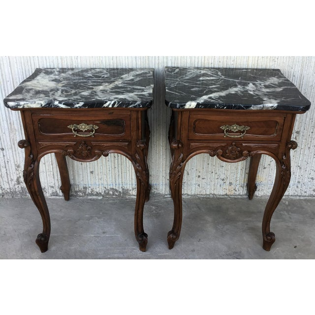 19th Century Pair of French Louis XV Carved Nightstands For Sale - Image 4 of 12
