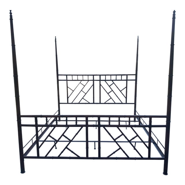 Vintage Chinese Chippendale Faux Bamboo Metal King Bed Frame For Sale