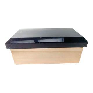 Black/Dark Blue Murano Glass and Brass Box by Alessandro Mandruzzato For Sale