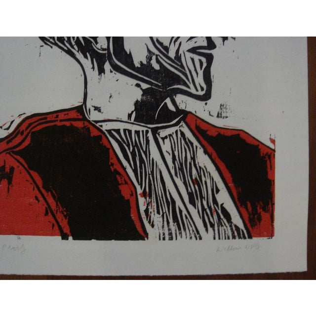 """1962 """"Laureate"""" Color Woodblock Print by William Wolff - Image 3 of 4"""