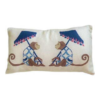 Printed Two-Monkeys With Parasols Pillow For Sale