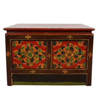 20th Century Tibetan Painted Square Coffee Table For Sale