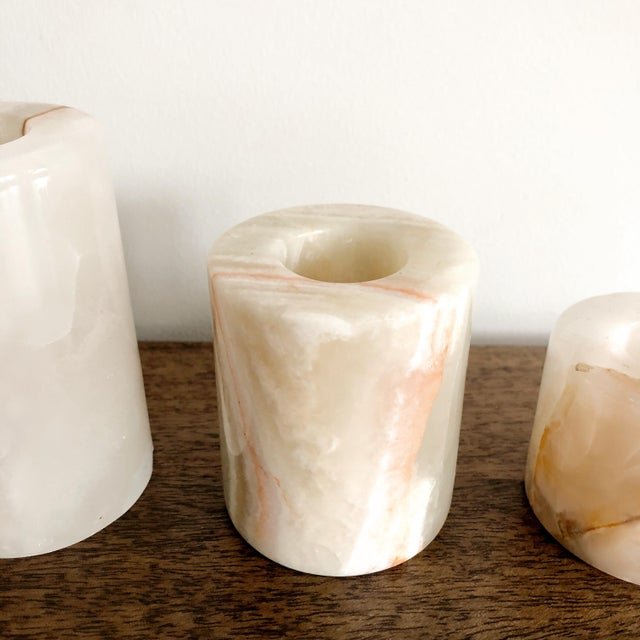 Onyx Pakistani Candlestick Holders, Set of 3 For Sale - Image 4 of 11