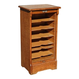 Antique French Country Oak Roll Front File Filing Cabinet For Sale