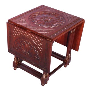 Hand Carved Mahogany Drop Leaf Gateleg Table For Sale