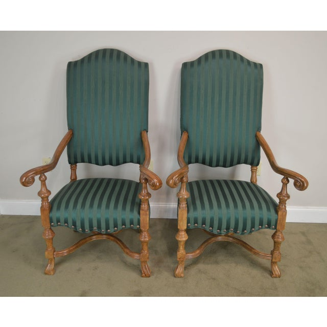 Baroque Spanish Baroque Style Custom Quality Pair of Throne Armchairs For Sale - Image 3 of 13