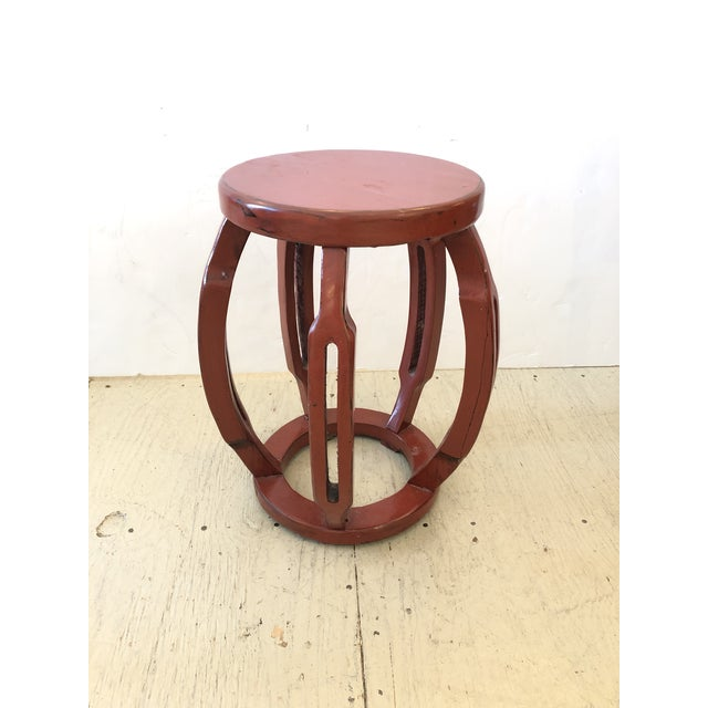 Red Red Chinese Carved Wood Garden Seat Side Table For Sale - Image 8 of 8