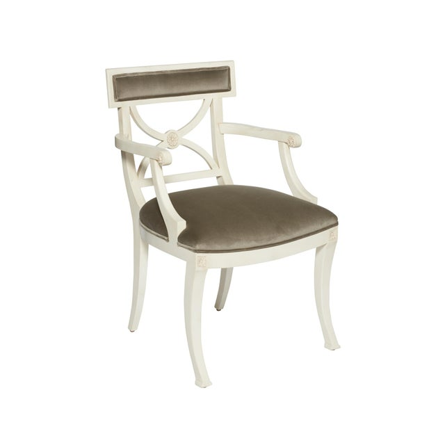 Schumacher Westminster Gainsborough Velvet Grey Hand-Carved Beechwood Armchair For Sale - Image 9 of 9