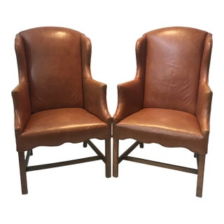 Vintage Camel Leather Wingback Chairs - a Pair For Sale